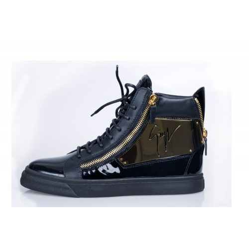 GZ High End Mens Patent black Sneakers