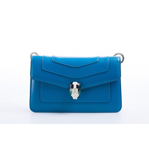 "Bvlgari Flap cover bag ""Serpenti Forever"" in turquise calf leather"